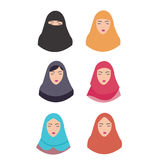 Woman wear hijab veil islam tradition islamic illustration vector headscarf Stock Images