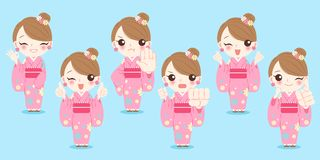 Woman wear kimono. With differnet gesture on the blue background Stock Photography
