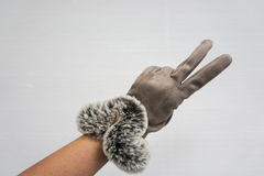 Woman wear leather gloves in winter as fighting symbol Royalty Free Stock Photography