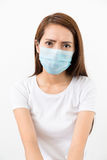 Woman wear mask with eye frown Royalty Free Stock Image