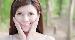 Woman wear retainer for teeth. And smile happily Royalty Free Stock Photos