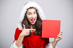 Woman wear Santa Clause costume Stock Images