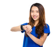 Woman wear the smart watch Stock Image