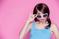 Woman wear sunglasses Stock Image