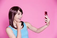 Woman selfie happily Stock Images