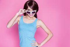 Woman wear sunglasses and smile Stock Photos