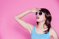 Woman wear sunglasses and smile Stock Photo