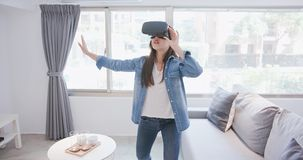 Woman wear virtual reality headset Stock Image