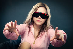 Woman wearing 3d glasses Stock Photos