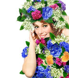 Woman Wearing A Crown Of Flowers Stock Image