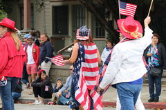 Woman wearing an American flag. Royalty Free Stock Photo