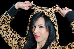 Woman wearing animal print jacket and hood with ears Stock Photography