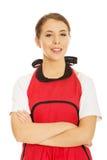 Woman wearing apron Stock Image