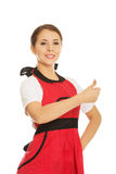 Woman wearing apron Royalty Free Stock Photo
