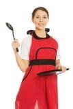Woman wearing apron Royalty Free Stock Image