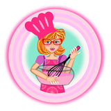 Woman wearing apron logo Stock Images