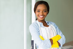 Woman wearing apron Stock Images