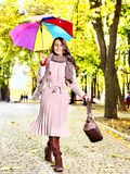 Woman wearing autumn coat outdoor. Stock Images