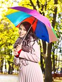 Woman wearing autumn coat outdoor. Stock Photo