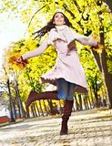 Woman wearing autumn coat outdoor. Royalty Free Stock Photos