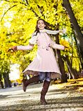 Woman wearing autumn coat outdoor. Royalty Free Stock Images