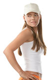 Woman wearing baseball cap Stock Photo