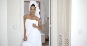 Woman Wearing Bath Towel Royalty Free Stock Image