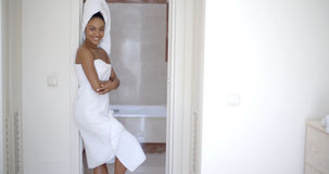 Woman Wearing Bath Towel Stock Photos