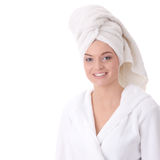 Woman wearing bathrobe Stock Images