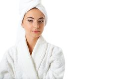 Woman wearing bathrobe Royalty Free Stock Images