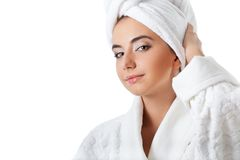 Woman wearing bathrobe Royalty Free Stock Photography