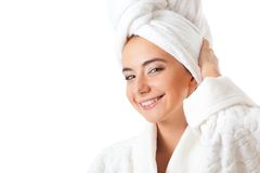 Woman wearing bathrobe Royalty Free Stock Photos