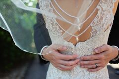 Woman Wearing Beige Bridal Gown during Day Time Royalty Free Stock Photo