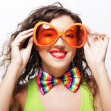 woman wearing big bright sunglasses Royalty Free Stock Photos