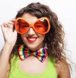woman wearing big bright sunglasses Royalty Free Stock Photo