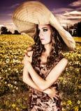 Woman wearing big hat Royalty Free Stock Image