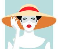 Woman wearing big hat Royalty Free Stock Photo