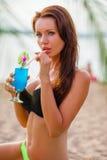 Woman wearing bikini closeup portrait Stock Photos