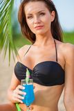 Woman wearing bikini closeup portrait Royalty Free Stock Images