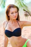 Woman wearing bikini closeup portrait Royalty Free Stock Photo