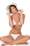 Woman wearing bikini and hat Stock Photography