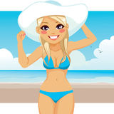 Woman Wearing Bikini And Hat Royalty Free Stock Photo