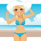 Woman Wearing Bikini And Hat Royalty Free Stock Photo
