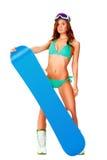 Woman wearing bikini and snowboard Royalty Free Stock Images