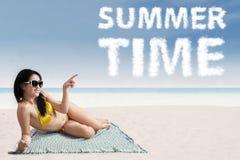 Woman wearing bikini at summer time Stock Photography