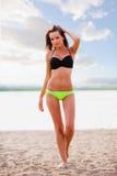 Woman wearing bikini walking on beach. Beautiful sexy brunette woman wearing bikini walking on beach Royalty Free Stock Photo