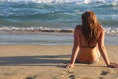 Woman Wearing Black 2-piece Bikini Royalty Free Stock Images