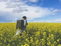 Woman Wearing Black Backpack Walking on a Flower Field Stock Images