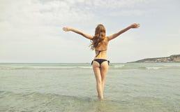 Woman Wearing Black Bikini Stock Images