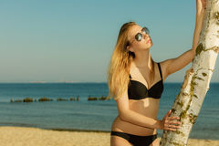 Woman wearing black bikini posing next to tree Stock Photos